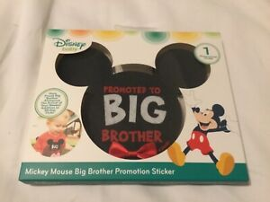 """Mickey Mouse Ears Milestone Sticker """"Promoted To Big Brother"""" Disney red bow"""