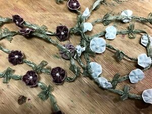 "Velvet Rococo Pearls Flowers Trim Satin Bows 5/8"" Novelty 1yd"