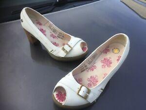 Dr Martens Latoya white peep toe high heels leather shoes UK 7 EU 41 wedding