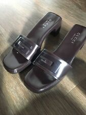 a7b3ad1d6a1 Vintage Gucci Leather Wood Brown Mules - UK 5. EUR 38