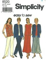 Simplicity 8520 Sleeveless Top, Jacket, Gored Skirt & Pants Sz 6-10 UNCUT EASY