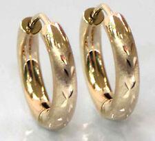 ECHT GOLD *** Rundprofil Creolen Ohrringe matt diamantiert  16 mm