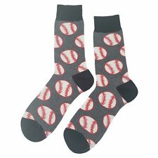 NWT Baseball Dress Socks Novelty Men 8-12 Gray Fun Sockfly