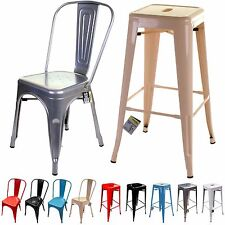 Metal Chair Bar Stool Tolix Style Industrial Dining Bistro Cafe Kitchen Chairs