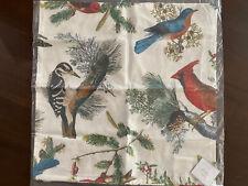 "Pottery Barn Winter Fauna Pillow Cover 20"" Square Christmas Birds Cardinal NIP"