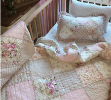 Shabby Barn Cottage Pottery Pink Chic Patchwork Cot Bed Crib Quilt &Cushion Set