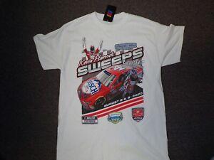 #4 Kevin Harvick Busch Light Apple Sweeps MI NASCAR T-Shirt NEW White NWT