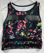 Fabletics Malina Midi Sports Bra Color Splash Print/Black Sz L Mesh Built In Bra