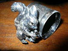 antique silver/silverplate figural napkin ring SQUIRREL HORN Meriden B Co 281