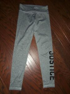 NWOT JUSTICE GRAY SPARKLE LOGO POLYESTER STRETCH ACTIVE LEGGINGS: SIZE 12