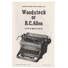 WOODSTOCK 5N or RC ALLEN 600 TYPEWRITER INSTRUCTION MANUAL Users Vtg Antique