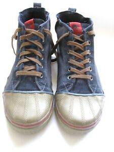 """Sorel Kinetic Blue Canvas Suede Sneakers Rubber Toes Mens Size 14/12"""""""