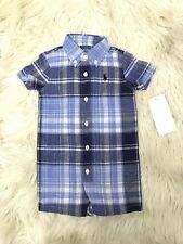 New Baby Boy Ralph Lauren Shirt Romper Size 9M