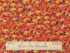 Blank Textiles #3963 Floral Flowers Orange Yellow Quilt Shop Cotton Fabric YARD
