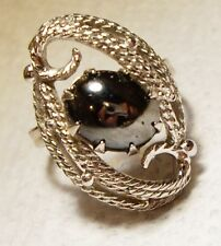 Vintage SARAH COVENTRY Hematite Glass Adjustable Ring