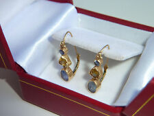 SOLID 14K Yellow GOLD Blue & Yellow NATURAL SAPPHIRE Pierced EARRINGS *BEAUTIFUL