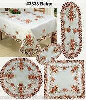 Christmas Poinsettia Bell Candle Placemat Table Runner Tablecloth Holiday #3838E