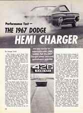 1967 DODGE HEMI CHARGER 426/425 HP ~ ORIGINAL 5-PAGE ROAD TEST / ARTICLE / AD