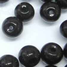 200 x 4mm Crystal Glass Round Beads - Black - A3635