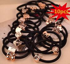 10x Black Gold Cartoon Head Hair Tie Band Rope Ring Ponytail Holder Accs Elastic