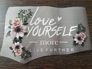 Großes Bügelbild Applikation Blumenranke Rose Love Yourself more