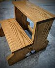 OAK DOUBLE STEP STOOL WITH NO TIP LEG KITCHEN BATHROOM BEDROOM BENCH FURNITURE