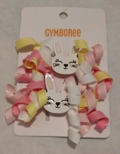NWT Gymboree Garden Party Bunny Rabbit Easter Curly Hair Clips 2 Pack