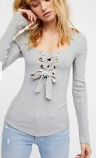 FREE PEOPLE Looking Back Grey Lace Up Grommet Top Size S $58 New