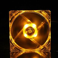 4Pin DC 12V 80mm Yellow LED Light PC Computer Cooling Cooler Case Fan Sleeve Brg