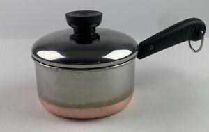 "Vintage REVERE WARE Copper Bottom Small 2.5"" Sauce Pan Pot & LID Clinton IL USA"