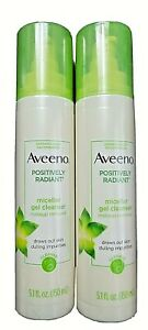 2x Aveeno Positively Radiant Micellar Gel Cleanser Makeup Remover  5.1 fl. oz.