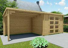 Gartenhaus Flachdach 28mm Gerätehaus Anbau 3x2.4+3M Ohne Boden Harz EB28237oFL