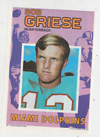1971 TOPPS INSERT POSTER BOB GRIESE MIAMI DOLPHINS PURDUE HALL OF FAME 7 GLOSSY