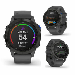 Garmin Fenix 6 PRO Solar Black Slate Gray Band GPS Sports Running HRM Smartwatch