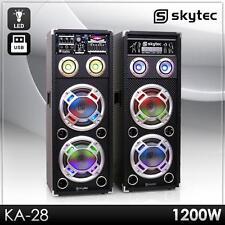 AKTIV KARAOKE PA DJ BOXEN SET PAAR 2x20CM SUBWOOFER LAUTSPRECHER USB SD MP3 NEU