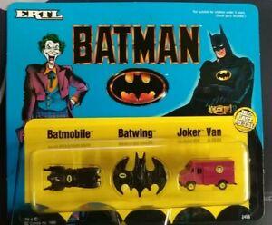 1989 Batman Ertl Diecast Vehicle Set - Joker Van, Batmobile, Batwing *UNPUNCHED*