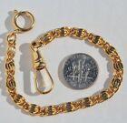 Civil War Swirl Style Gold Plated Short Shortie Pocket Watch Chain