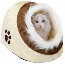 Large Cat Bed Cave Small Wool Cozy Pet Igloo Bed Winter House Nest with Fur Trim