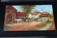 Öl Gemälde gerahmt - Tiroler Alpenhof 1954 Allgäu + Hufschmied - signiert