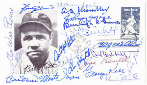 Baseball Multi Signed Hall of Fame Babe Ruth First Day Cover ~ 19 signatures