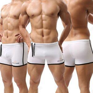 Men's Swim Trunks Fitness Shorts Boxer Brief Swimwear Lace Up Shorts S M L XL