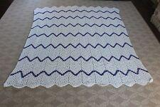"Handmade Crochet White Afgan Blanket Throw Purple Green Pink Chevron 66"" x 75"""