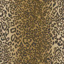 Pelle di Leopardo Carta da Parati Metallico Oro Giallo Gunmetal Muriva 168502