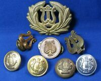 WWII Army Band/Musician Hat Badge, Enlisted Disc & Buttons Lot Of 8