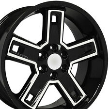 "22"" Wheels For Chevy Silverado Avalanche Blazer GMC Yukon 22x9.5 Black Machined"