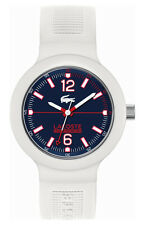 Lacoste Borneo Mens White Fashion Watch Silicone Strap Blue Dial 2010702