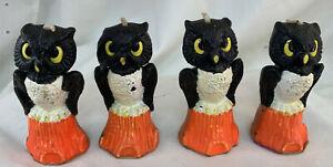 "(1) One - Vintage 3"" GURLEY Halloween OWL ON STUMP Candle Wax Unlit Character"