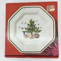 """Nikko Christmastime Bread and Butter Plates Octagonal 6 5/8"""" Set 4"""