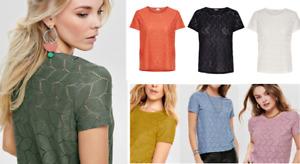 JDY Jacqueline de Young TAG Oberteil Bluse Shirt TOP T-Shirt Lochmuster oNlY %%%