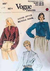 Vintage Vogue Sewing Pattern 8091 | Misses Tie Neck Shirt Blouse Size 14